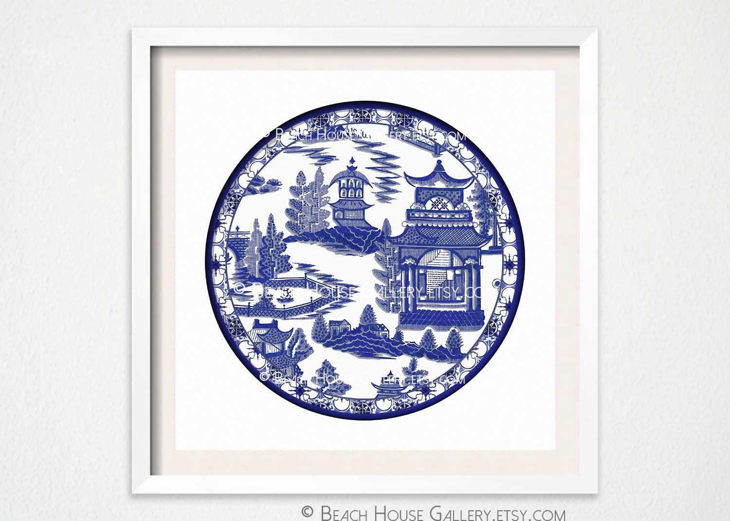 chinoiserie plate art print asian plate wall art blue and white