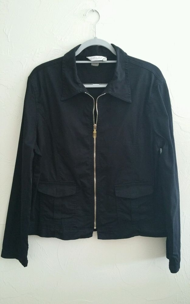 Vintage Fresh Produce Jacket Sz Large  Black Zip Denim Style EUC #FreshProduce #BasicJacket