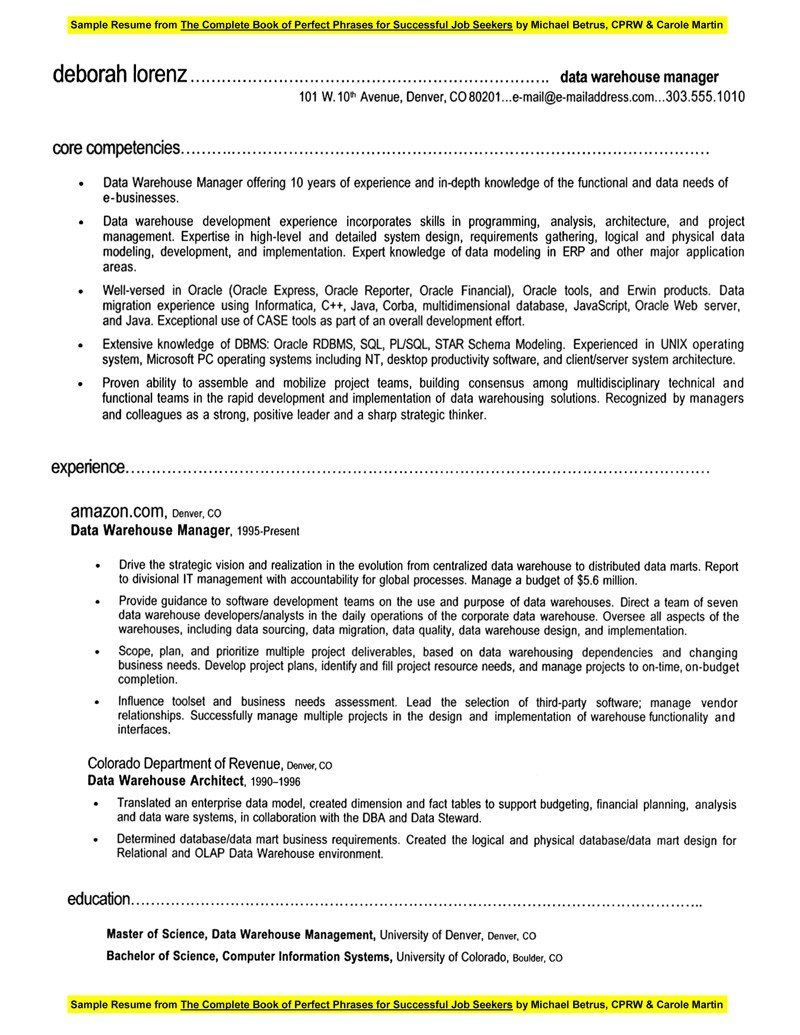 Warehouse Manager Resume Pdf Sample Customer Service With Examples