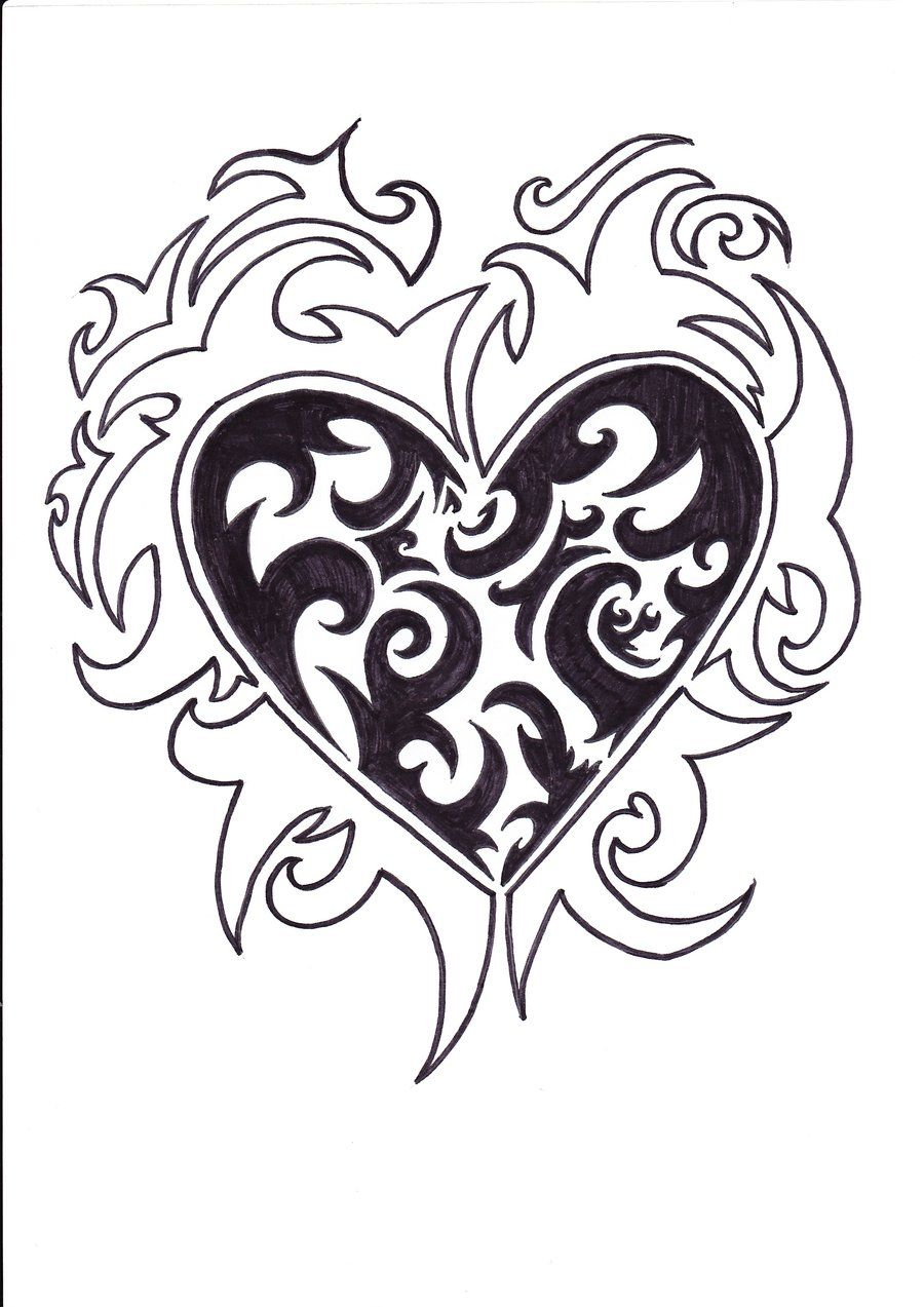 heart with ivy tattoo drawings   tribal heart tattoo ...