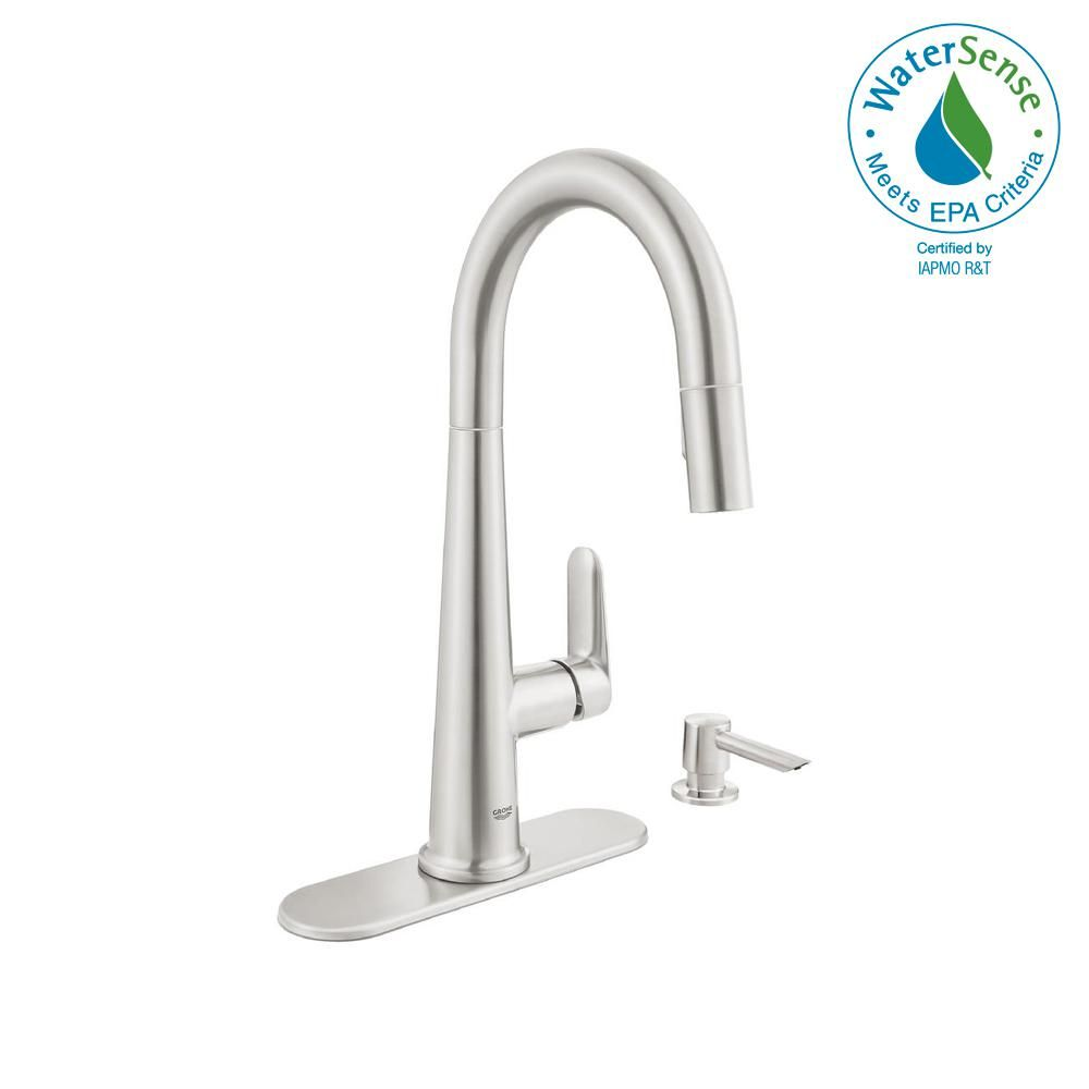 grohe veletto single handle pull down sprayer kitchen faucet in rh pinterest com