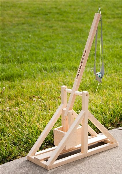 This Trebuchet Kit is 100% made by hand in Michigan. Once you glue together the precision cut pieces, you'll have a trebuchet that stands 19