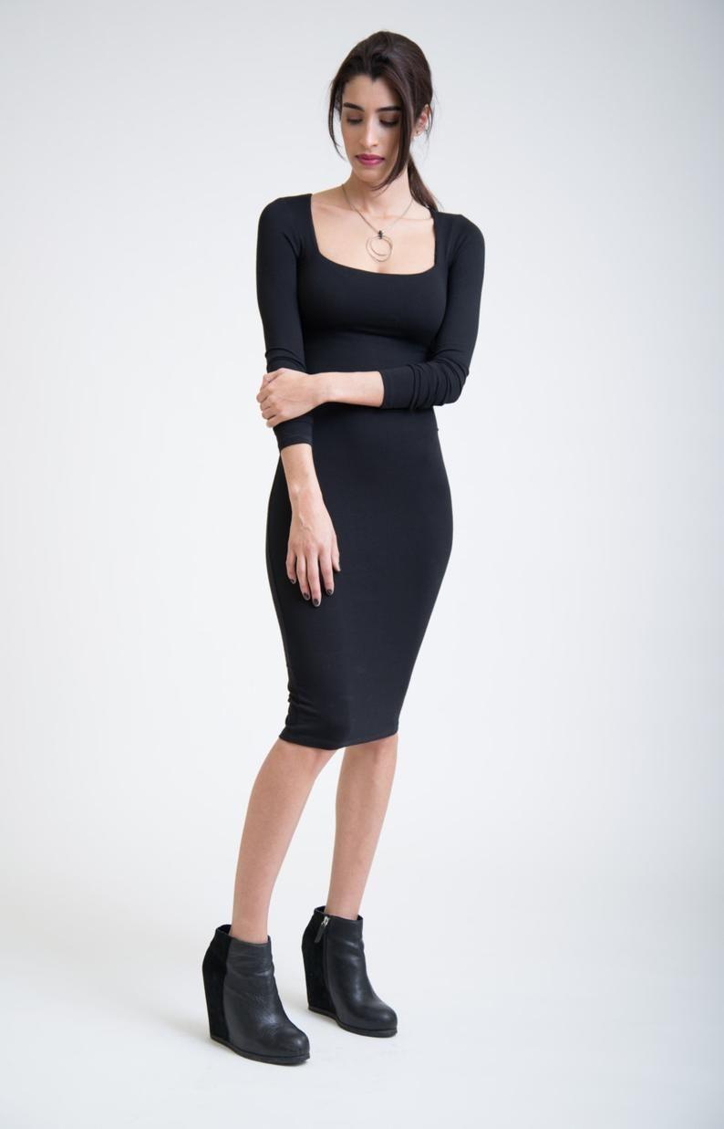 Black Elegant Dress Classic Midi Dress Long Sleeves Dress Square Neckline Dress Fitted Dress Elegant Black Dress Classic Midi Dress Tight Black Dress [ 1237 x 794 Pixel ]