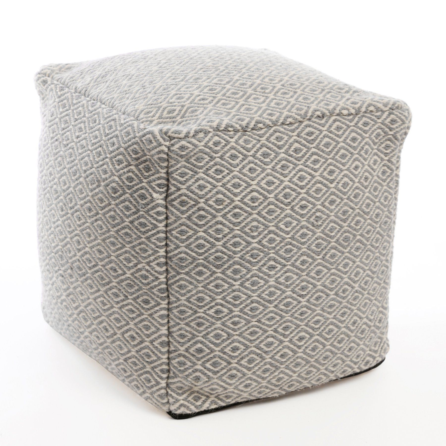 Best Home Fashion Diamond Pattern Wool Pouf Pouf Cor Grey