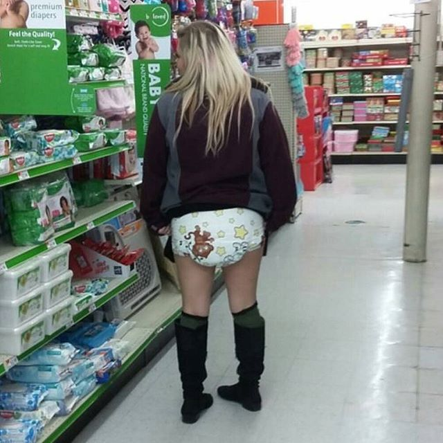 Women wearing diapers in public