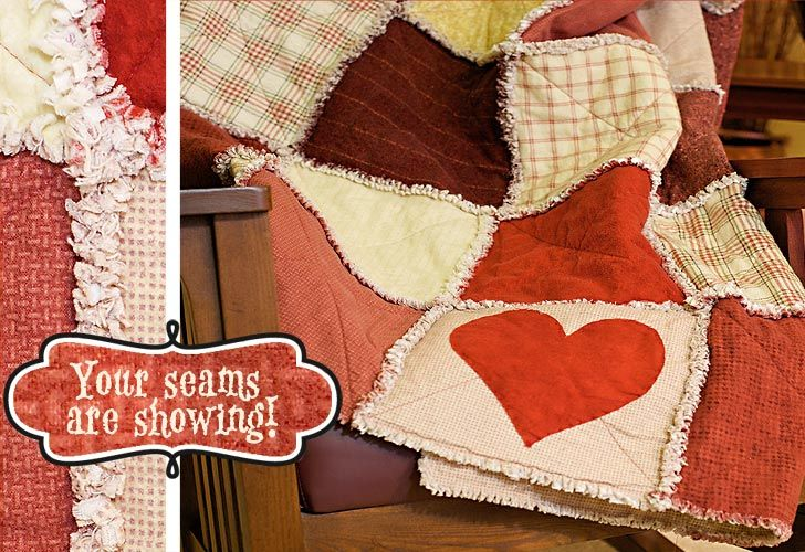 Wrap up your Valentine in this incredibly snugly rag quilt with its special 'secret admirer heart' appliquéd onto the bottom row.  A rag quilt is sewn together so the seams show on the outside. After washing and drying, the seams gently fray or 'rag,' producing a soft and cuddly look and feel. http://www.freequiltpatterns.info/free-wooly-rag-valentines-quilt.htm