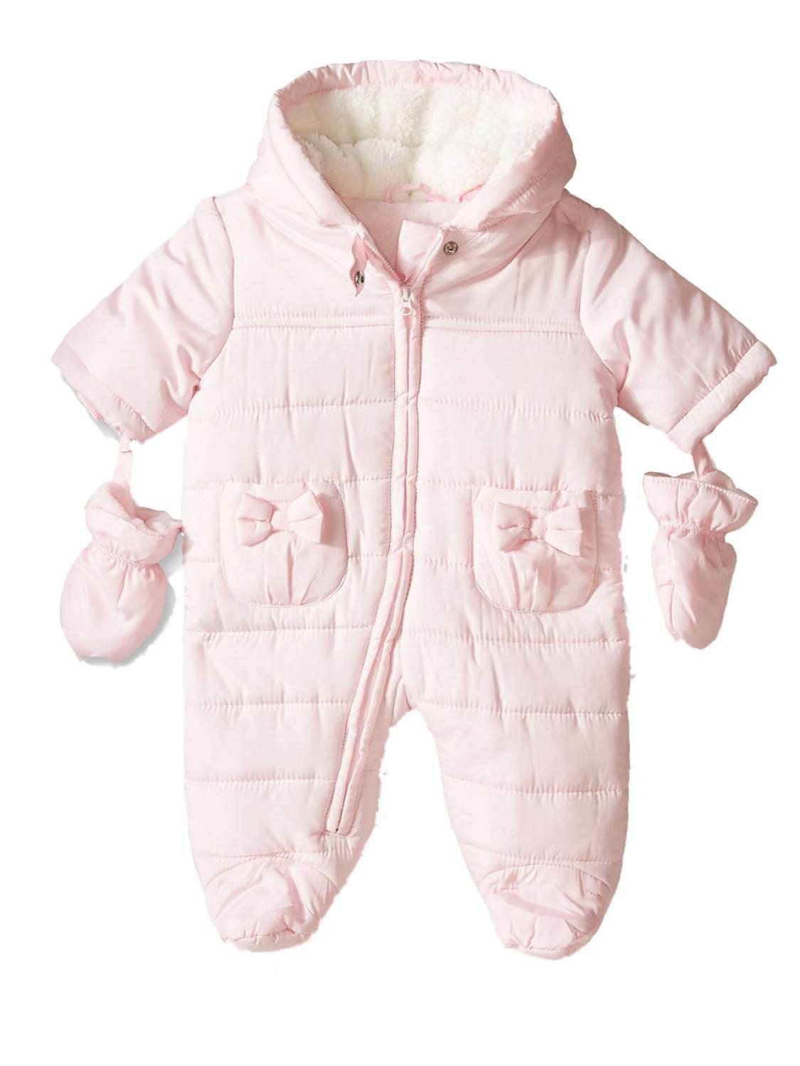 95efee840 Place Infant Girls Light Pink Quilted Snowsuit Baby Pram Snow Suit 6 ...