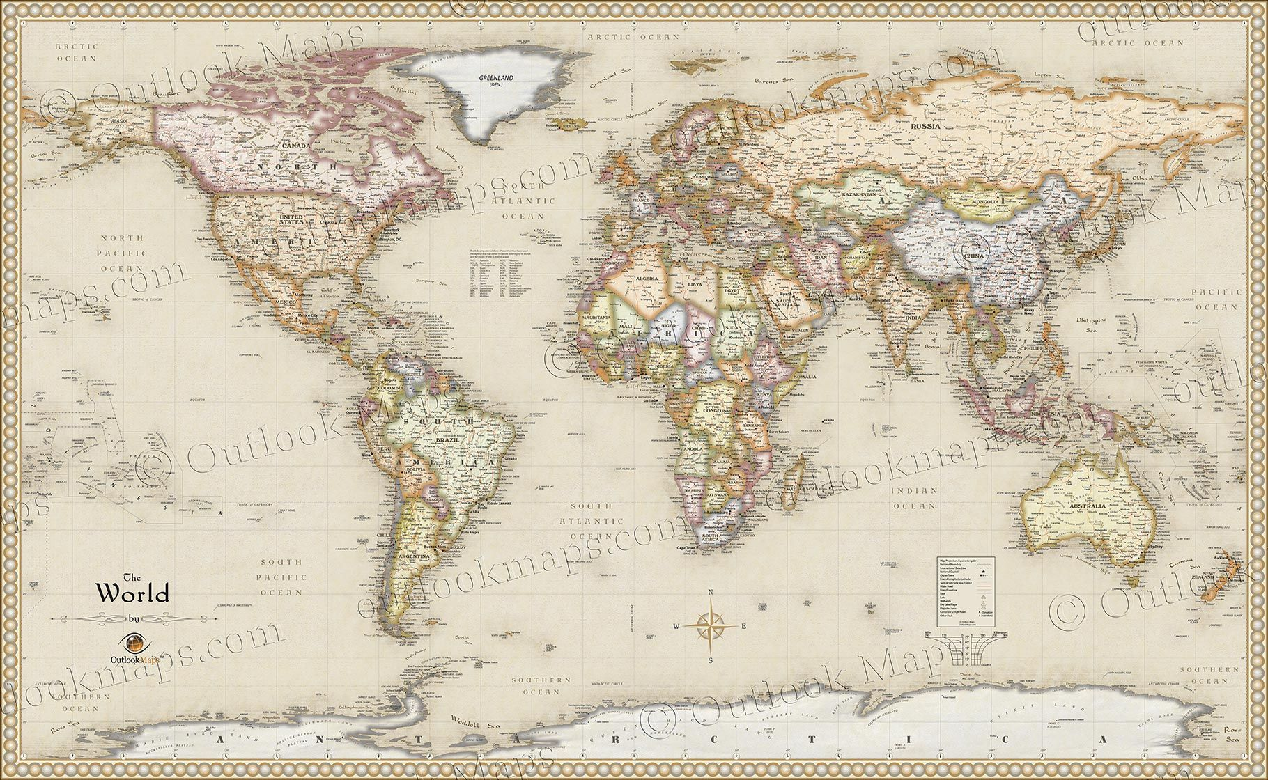 World Antique Style Wall Map Thesis