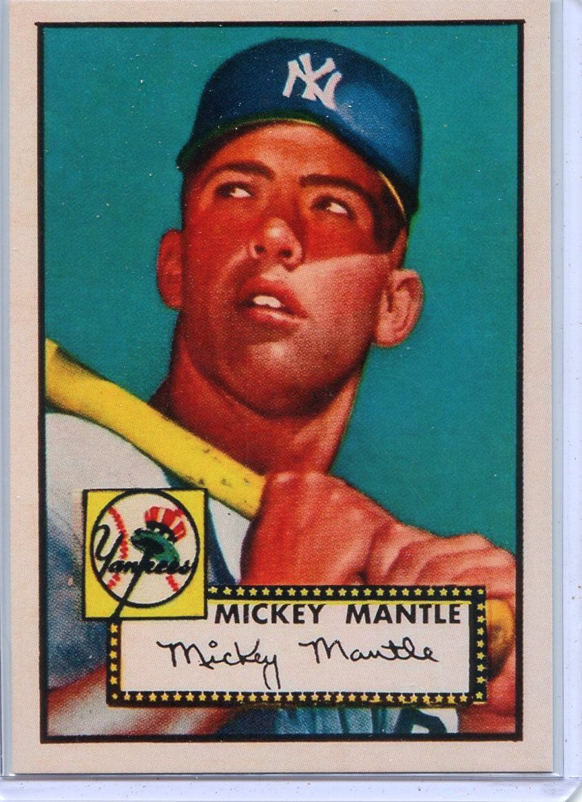 Mickey Mantle New York Yankees 1952 Topps Rookie Card 311 Etsy In 2021 Baseball Card Values Old Baseball Cards Mickey Mantle