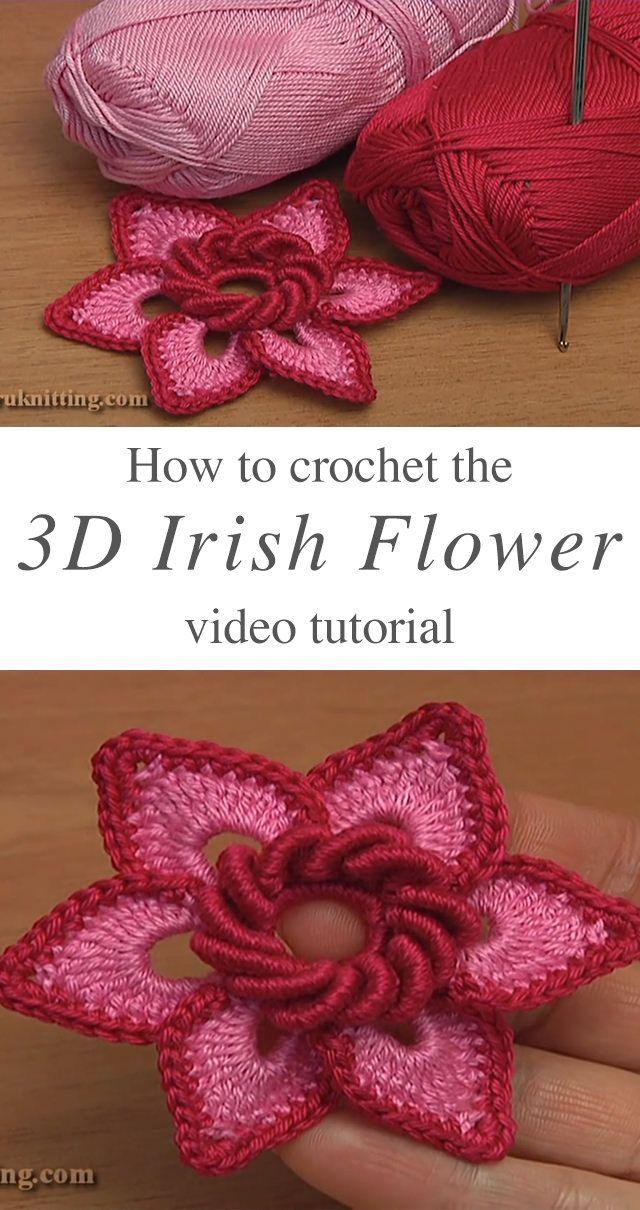 3D Irish Flower Crochet Pattern Tutorial | Crochet flowers by Lynda ...