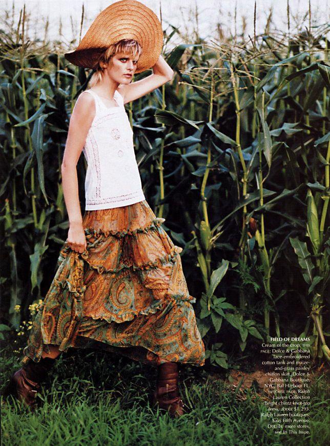 "Us Vogue November 2001 ""The Lost Weekend"" Photographer: Arthur Elgort Stylist: Grace Coddington Model: Stella Tennant, Jacquetta Wheeler, Anouck Lepere"