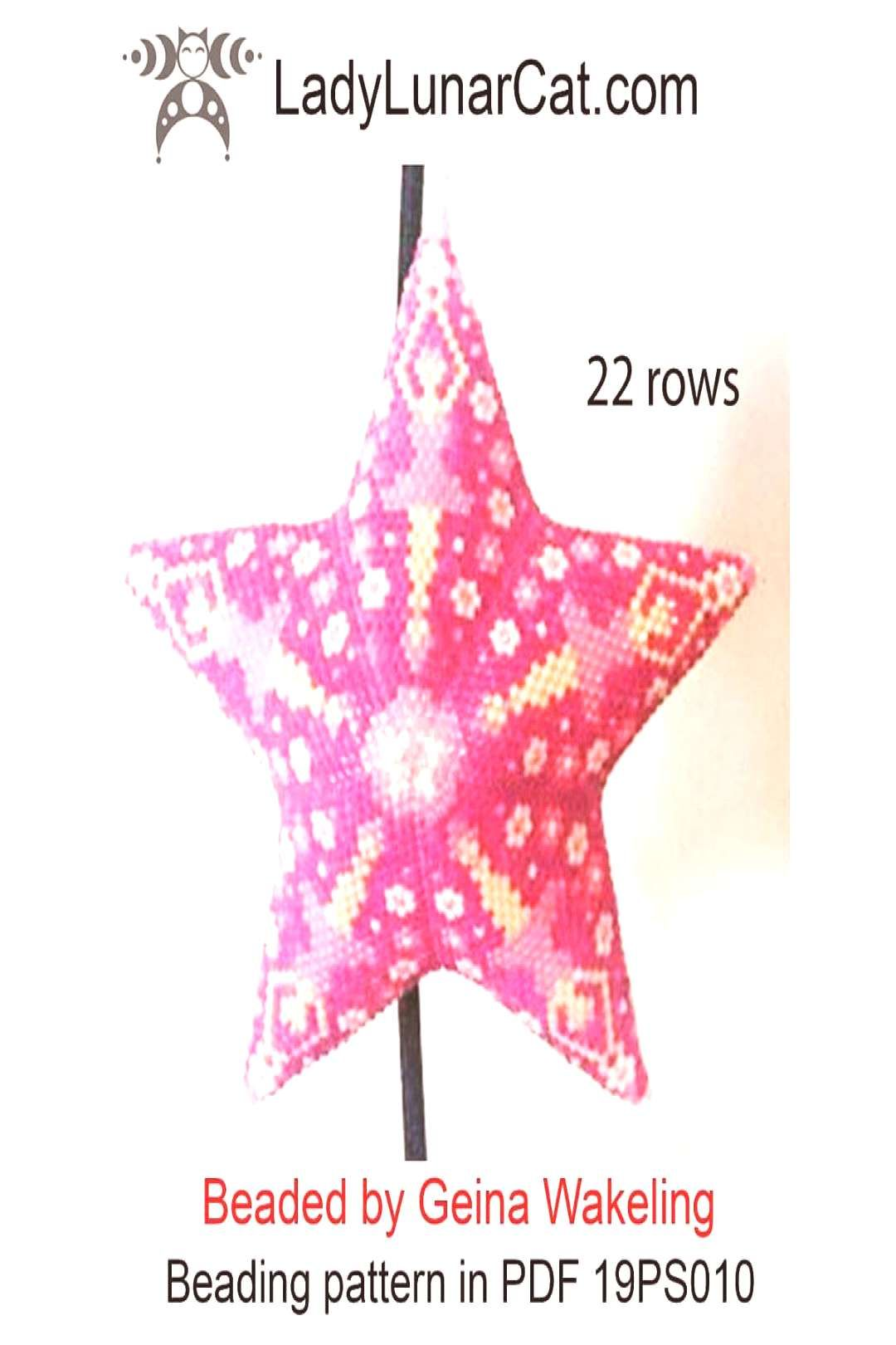 Peyote 3D star pattern with ballerina 19PS010 Lady Lunar Cat desi