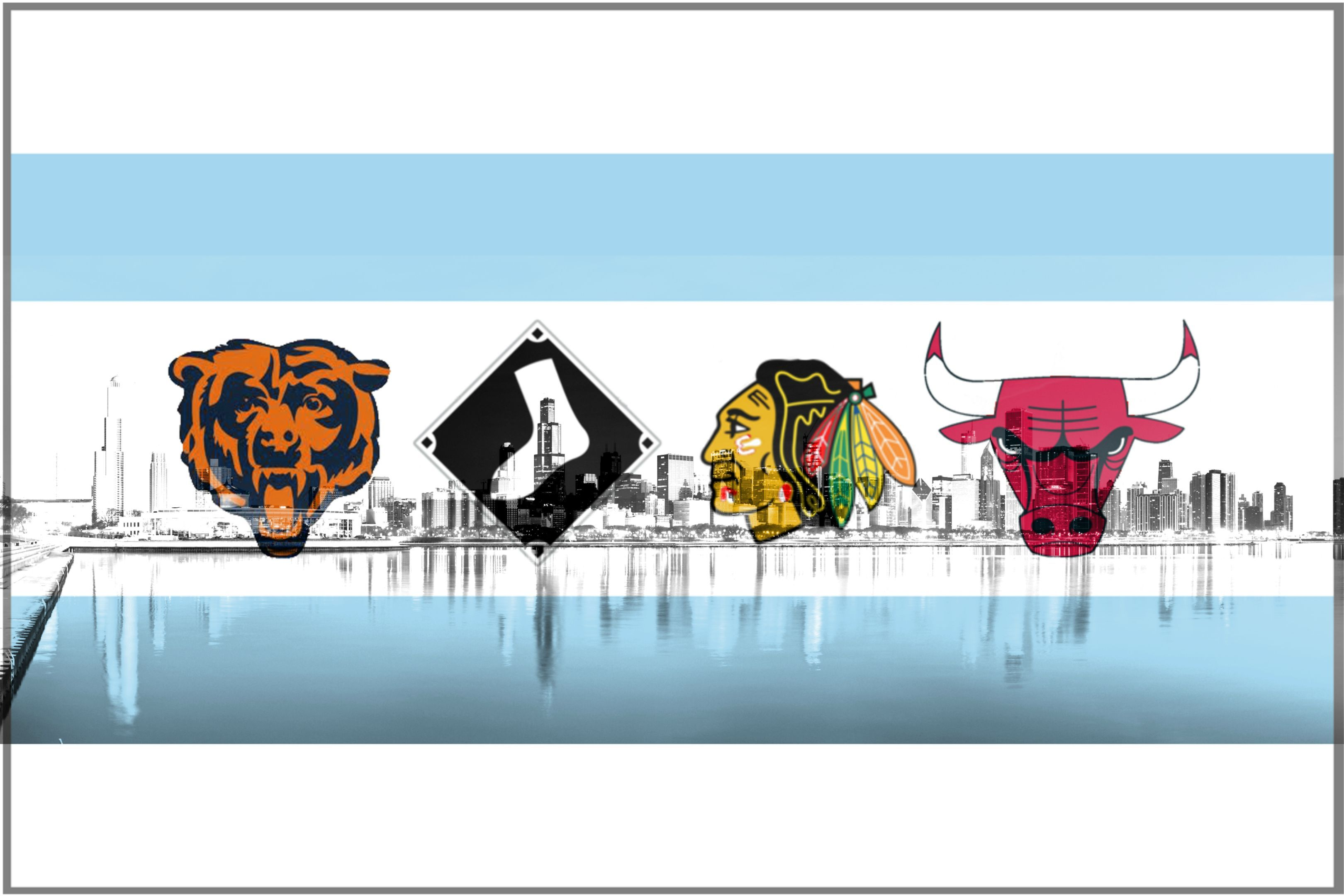 I Ve Seen A Lot Of The Chicago Flag W Sports Logos Replacing The Stars But Most Have The Cubs In There Chicago Sports Sports Wallpapers Chicago Sports Teams