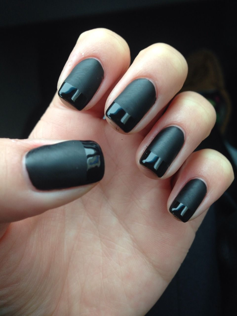 Black matte nails with glossy french manicure. | Make-Up & Nails ...