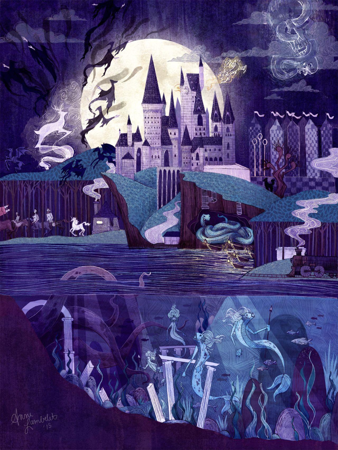 Harry Potter Book Art Hogwarts anne lambelet |...