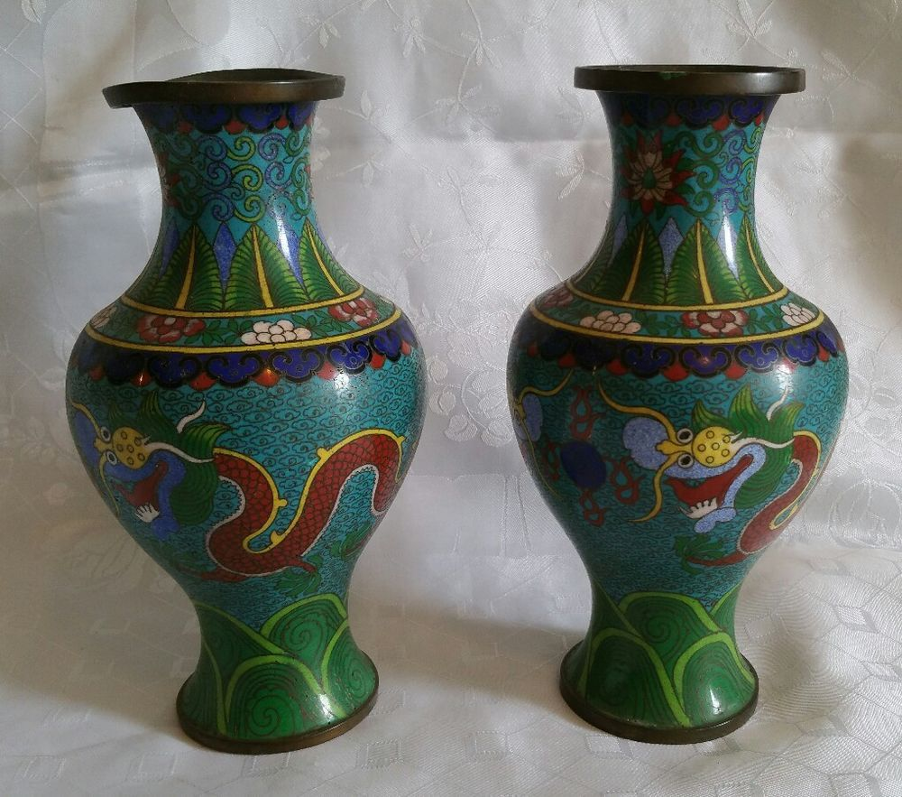 Antique pair of oriental cloisonne dragon vases oriental and dragons antique pair of oriental cloisonne dragon vases reviewsmspy