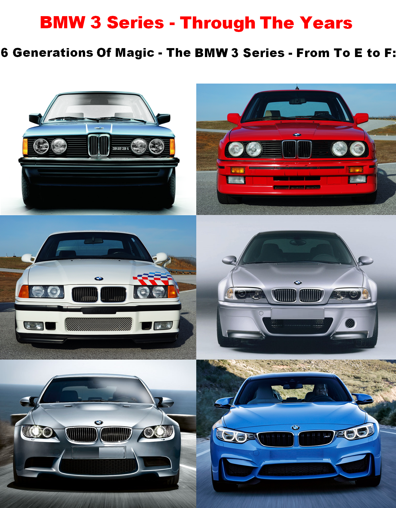 Experience The Bmw 3 Series Through Years 6 Generations Of Total Magic From