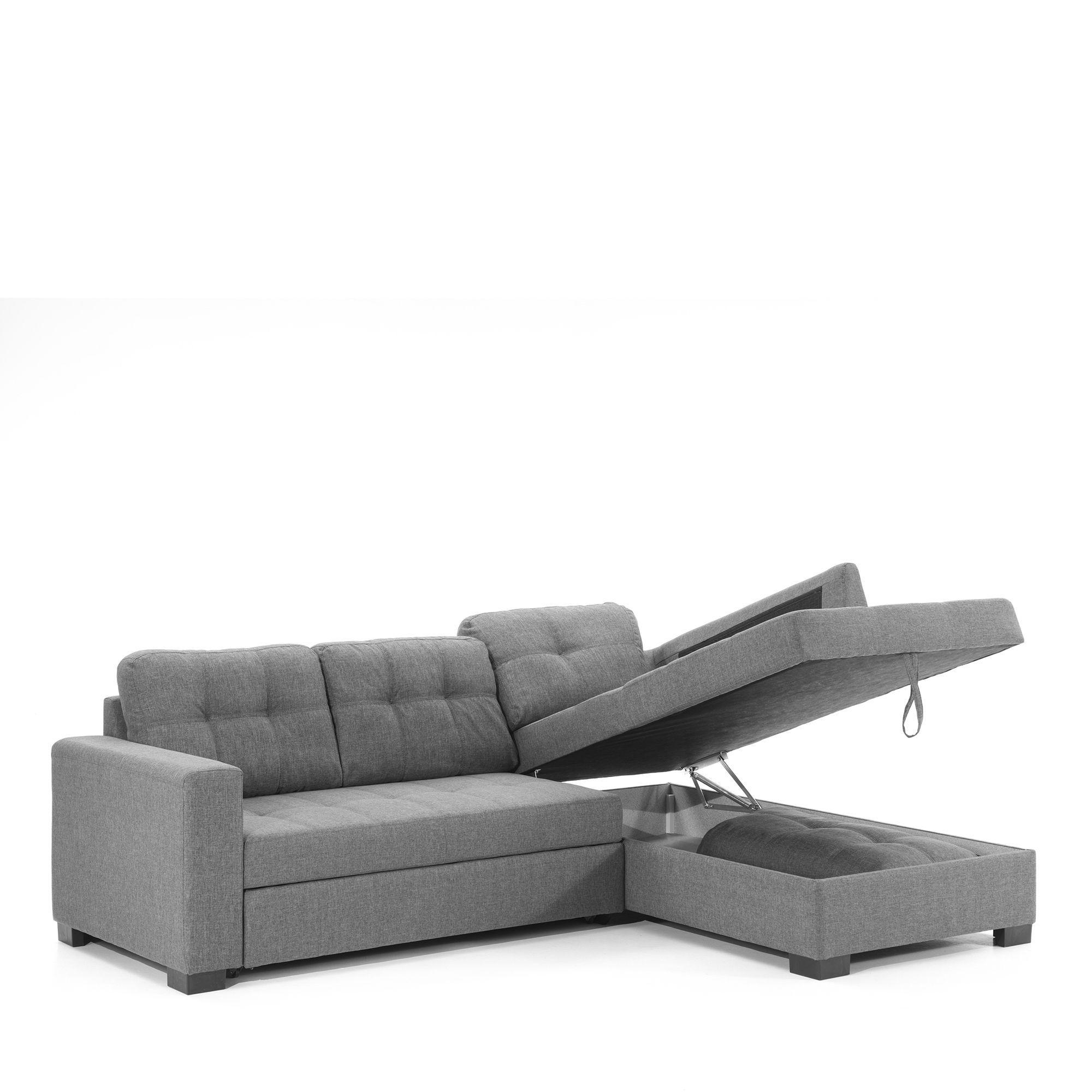 Canapé d\'angle gauche convertible avec coffre en tissu gris ...