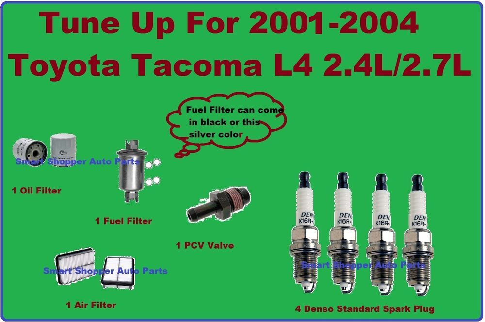 tune up or 2000-2004 toyota tacoma: spark plug, pcv valve, air, fuel, oil  filter