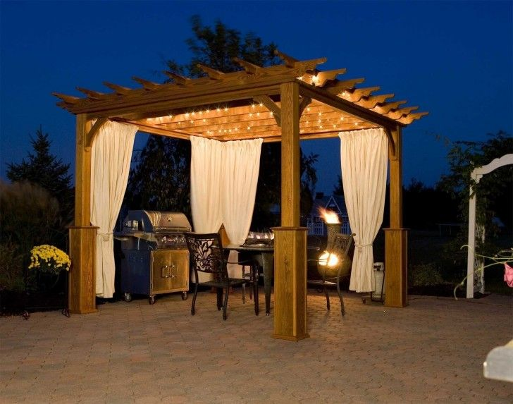 Kitchen Wooden Pergola With Canopy White Curtain Decorative String Lights  Patio Floor Stone Bbq Burner Built