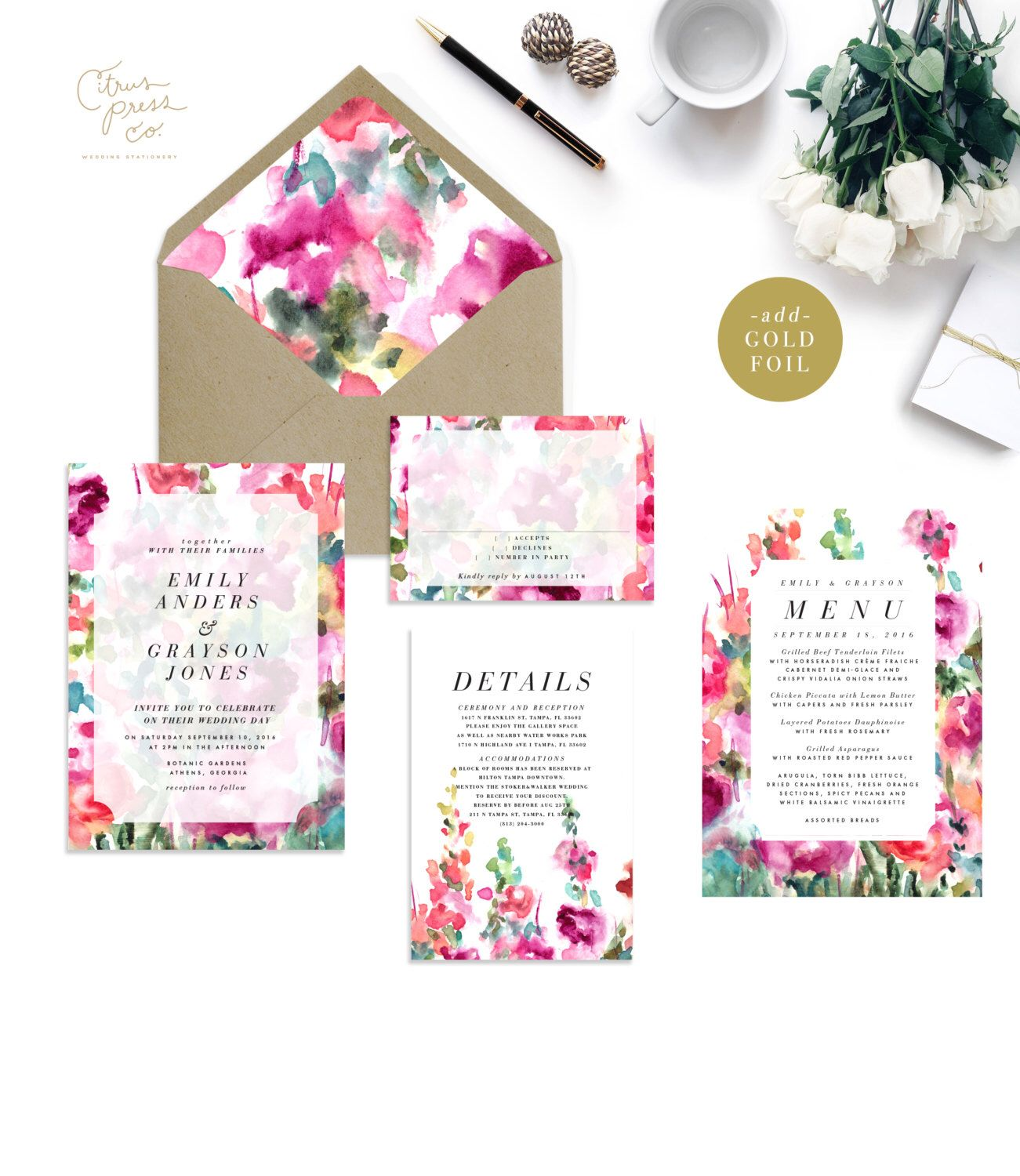 EMILY SUITE Spring Watercolor Wedding Invitation Botanical Colorful Garden Watercolour Outdoor English Pink