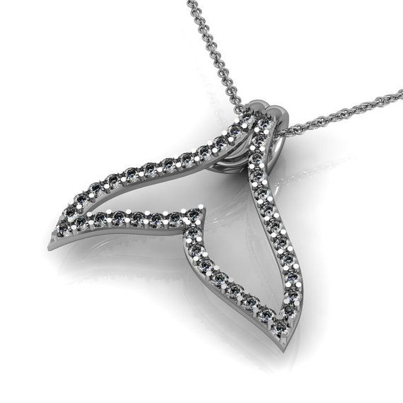 Diamond Whale Tail Necklace in 14k White Yellow Rose Gold | made to order for you within 5-7 business days  #customjewelrydesign #jewelry #designer #jewelrydesigner #jewelrydesign #California #Losangeles #dtla #jewelrygram #highjewelry #instajewels #platinum #gold #rosegold #gems #diamond #diamonds #highfashion #fashion #savethewhales #whale #whaletail #pendant #madeinusa #etsyshop