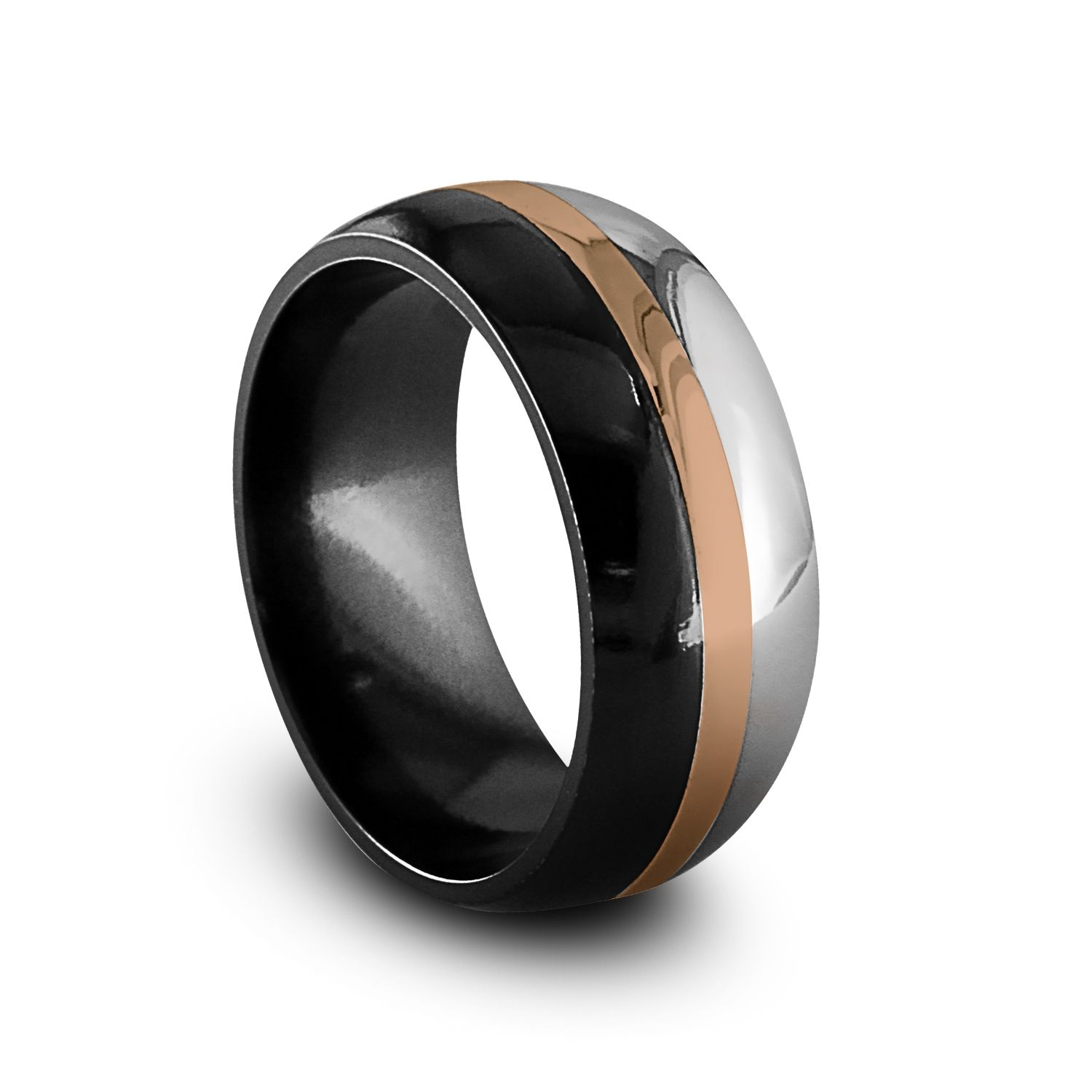 black gold rings | black titanium & rose gold men's ring | circles