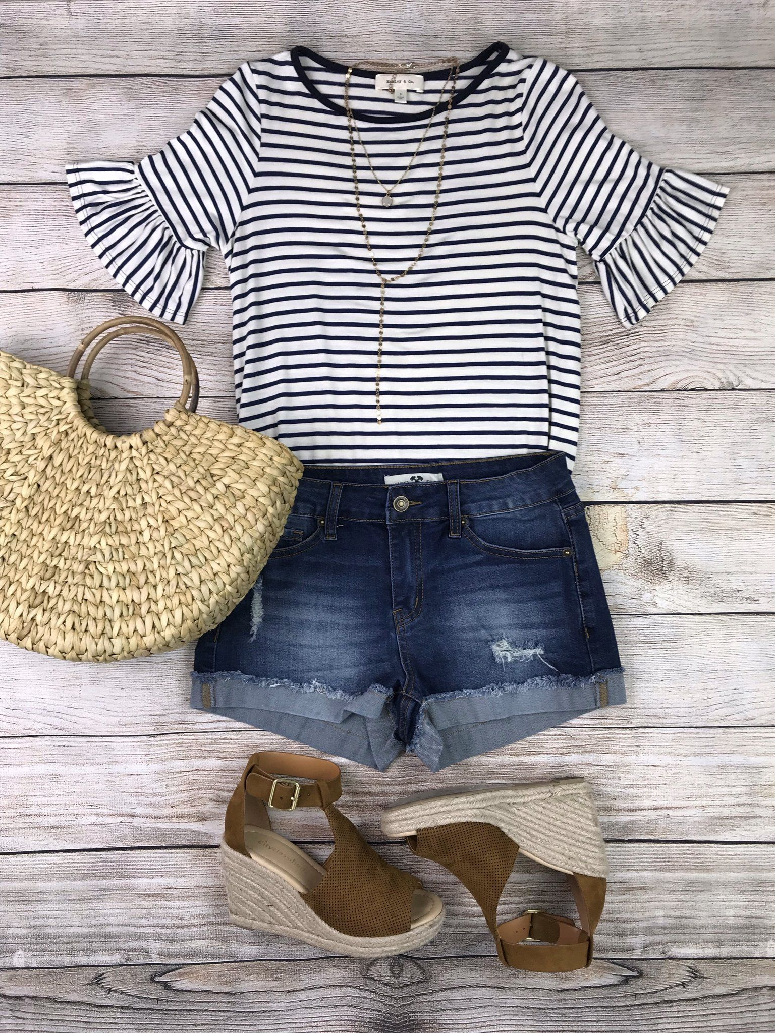 2b816fff878 Perfect summer outfit inspo flatlay! Striped bell sleeve top