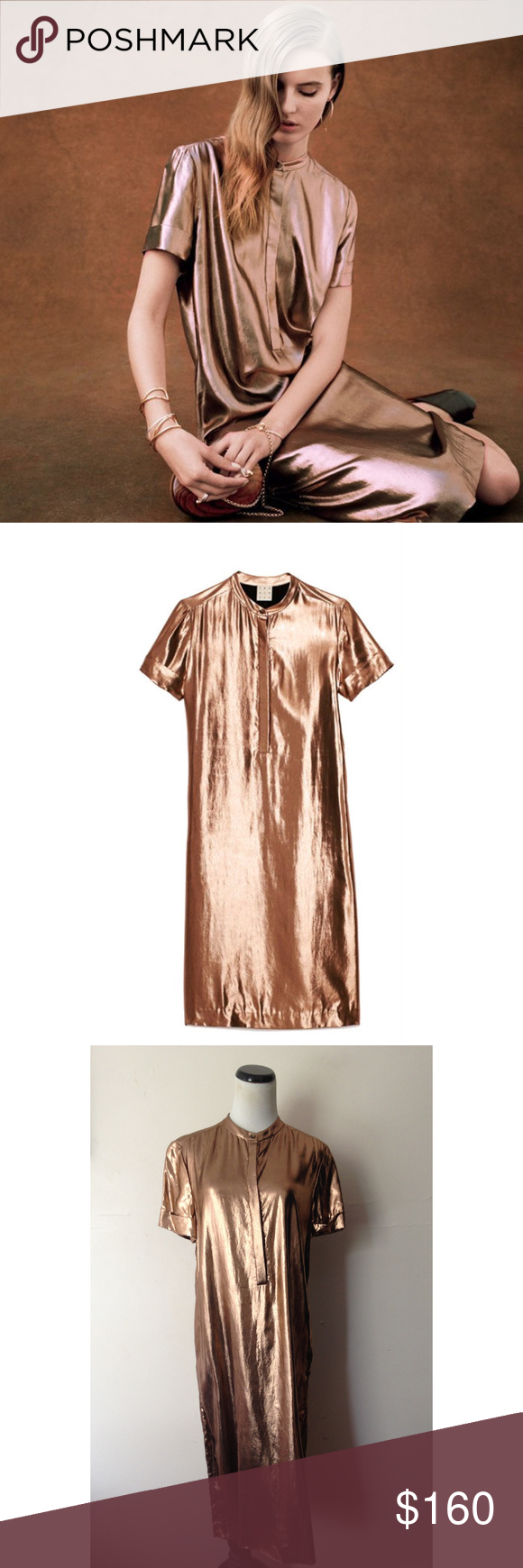 2527bef1030 Trademark minimal pinkish bronze lamé shirtdress This dress is from  Trademark