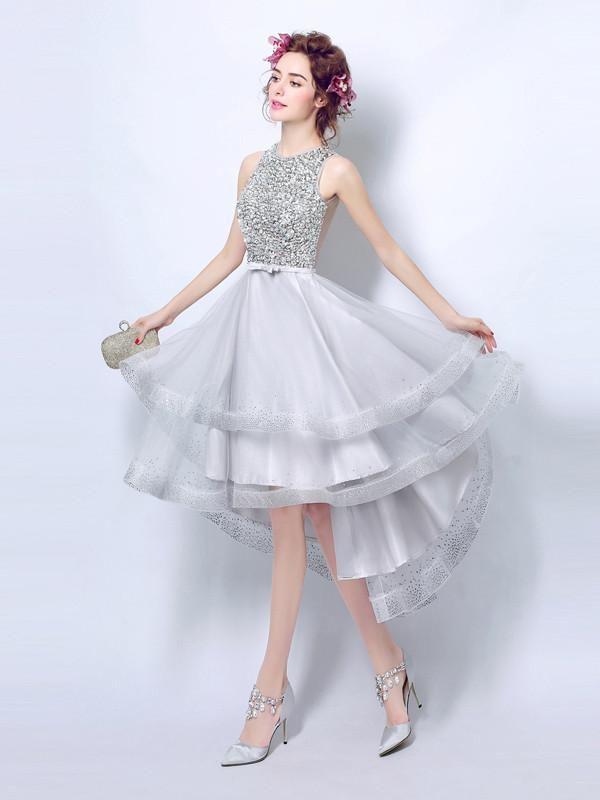 2017 A-line Scoop Asymmetrical Prom Drsess Homecoming Dress SKY456