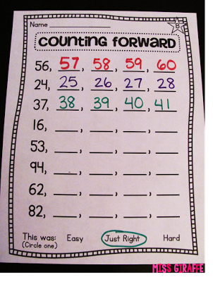 Counting forward starting at any number worksheet and centers ...