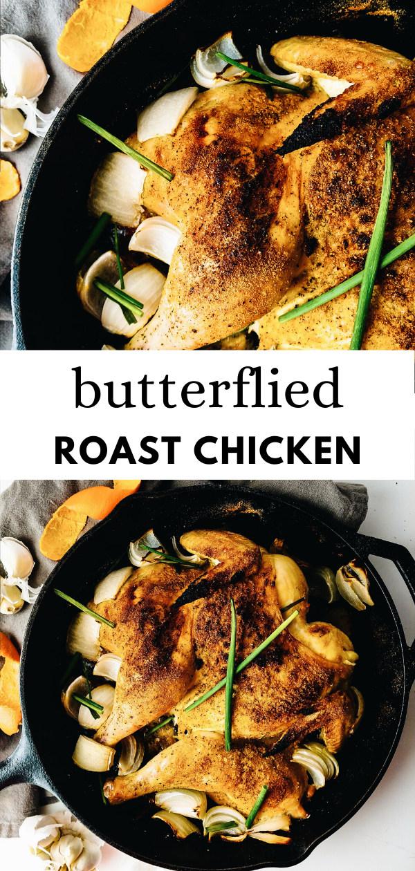 Orange Onion and Chive Butterflied (Spatchcock) Roast Chicken - Meals, Dinners, Lunches -