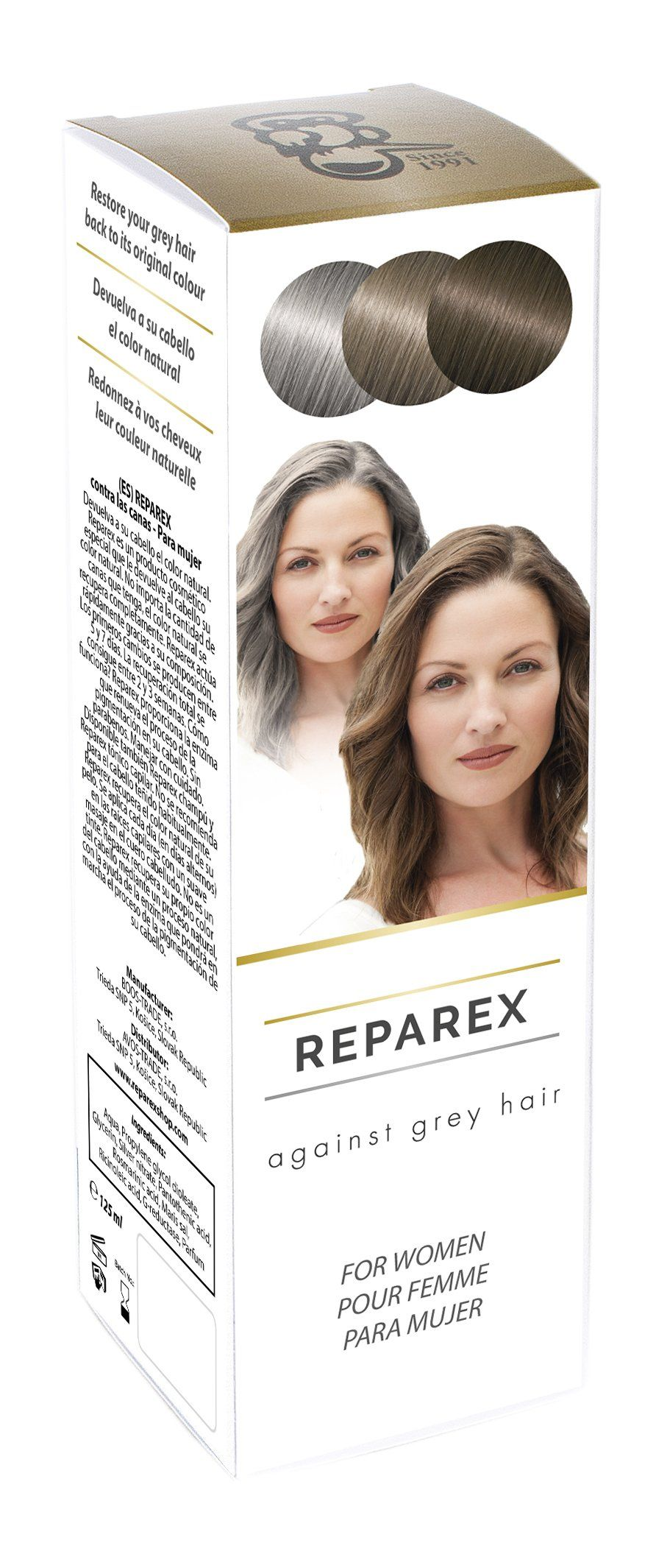 Gray Hair Treatment Formula for Women - Natural Hair Color Restoration and Hair Repair by Reparex. Get Rid of Gray Hair - Better than Hair Dye. Anti-Gray Hair Solution, Safe, Easy to Use & Apply. • Restores natural hair color without the use of dyes, wigs, chalk or any kind of cover up. • Hair color can be restored from white or grey color to your natural color in a matter of weeks and is easily applied before bed. • Reparex is used instead of hair dyes and supplements to bring back your...