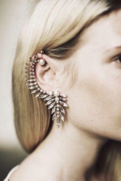 Jewels: diamonds earrings ear cuff wedding accessories pearl earrings statement earrings