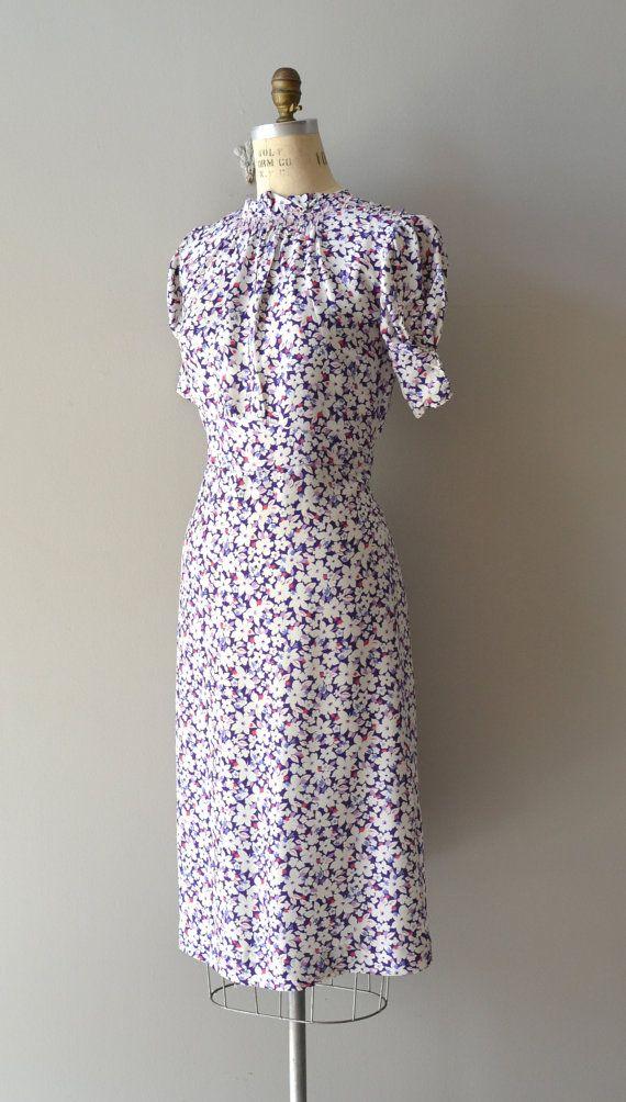 1930s dress / rayon 30s dress / Fields of Larkspur by DearGolden, $224.00