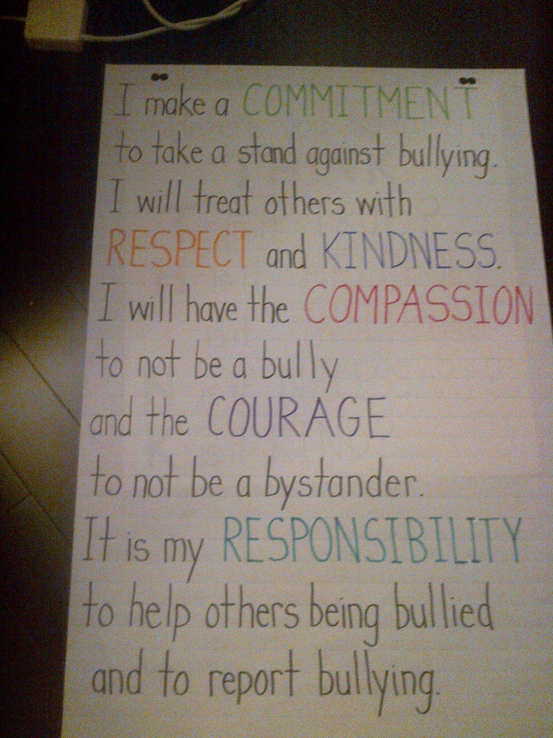 Classroom Pledge Ideas : Anti bullying pledge borrowed from http