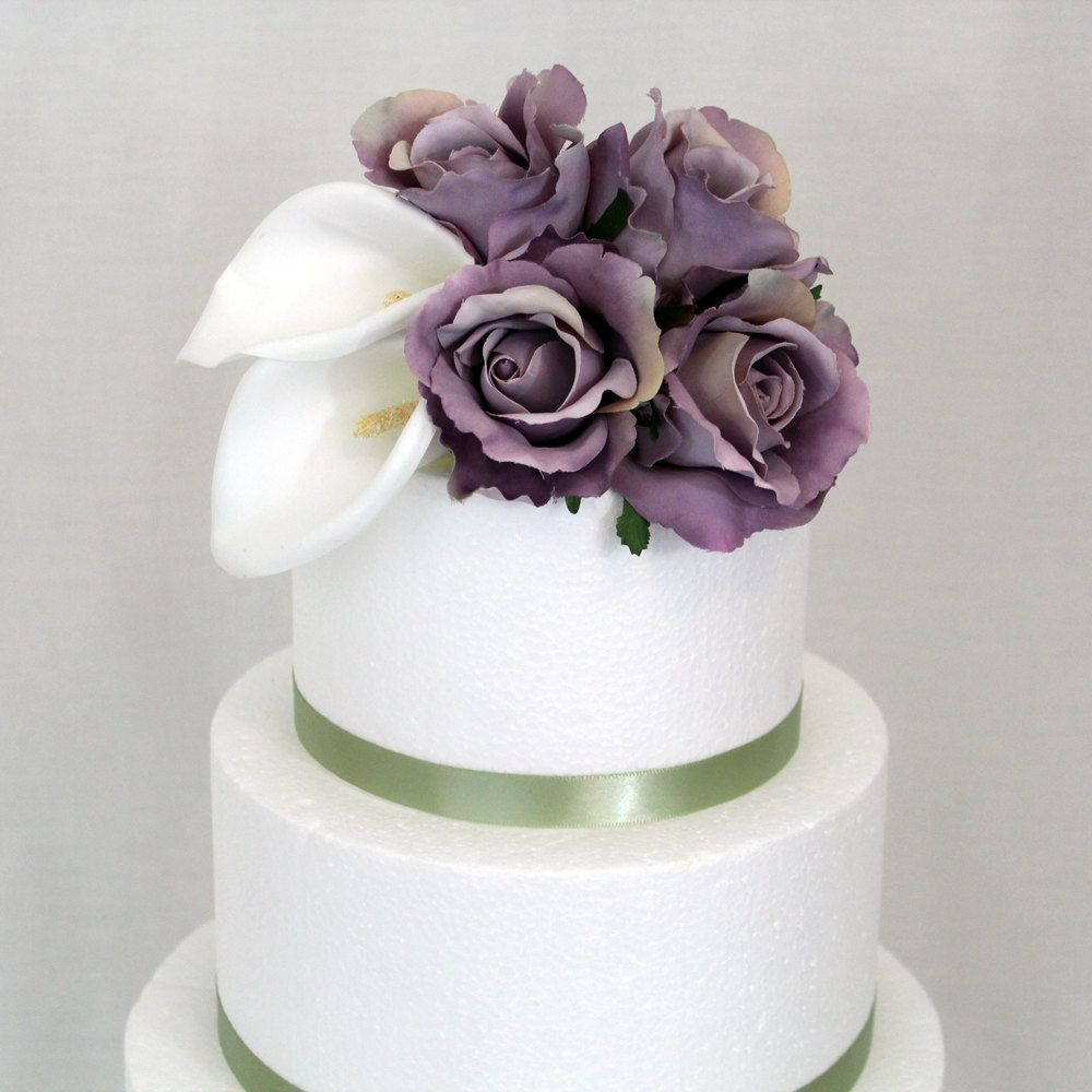 Flower Cake Toppers For Weddings: Calla Lily, Lavender Rose, Silk