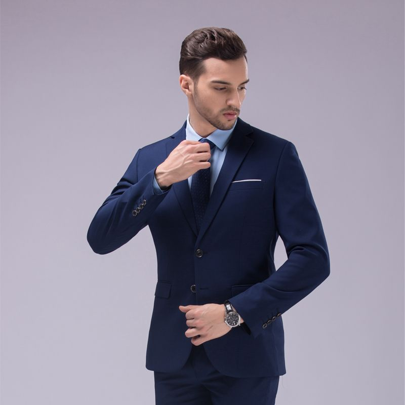 Custom Made Dark Blue and Black Suit, Tailor Made Suit, Bespoke ...