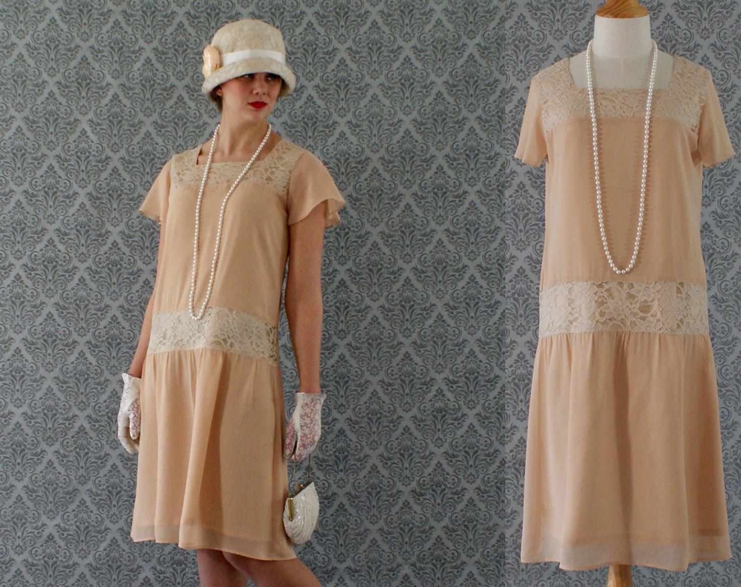 Lady Angel Free Shipping Short Beige Chiffon Bridesmaid: Flapper Dress 1920s Dress Great Gatsby By