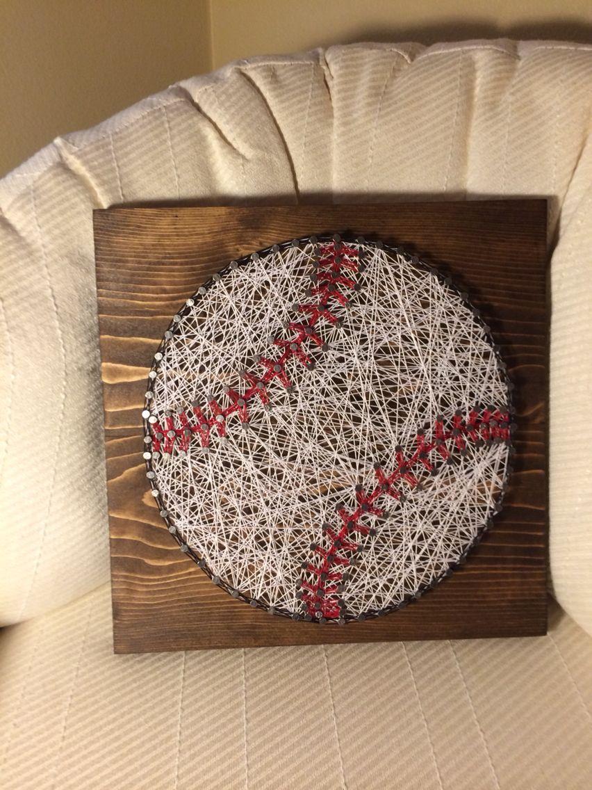 Baseball string art sports ball nail thread