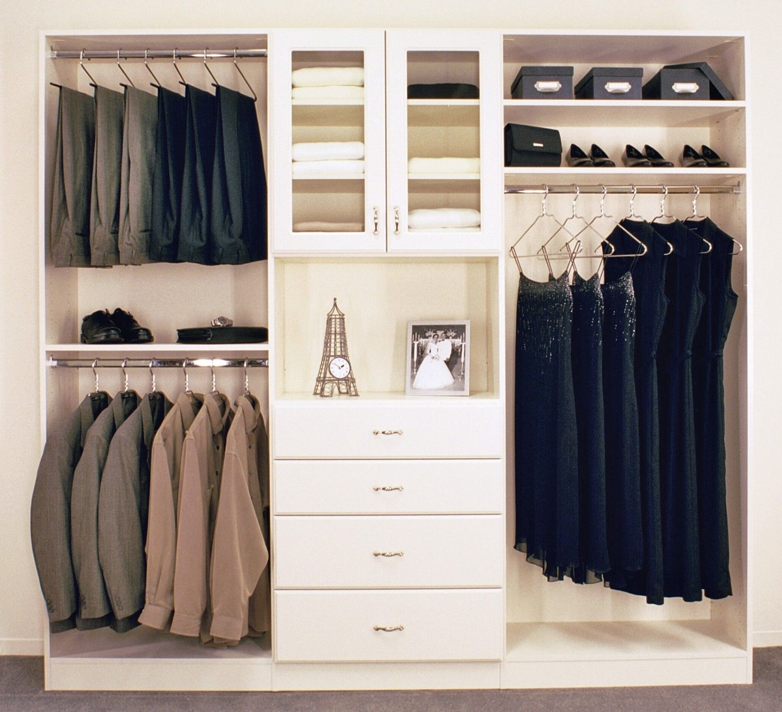 Bedroom: Minimalist Wooden Lowes Closet Organizer In Drawers And Shoes  Shelves On Simple Closet Storage