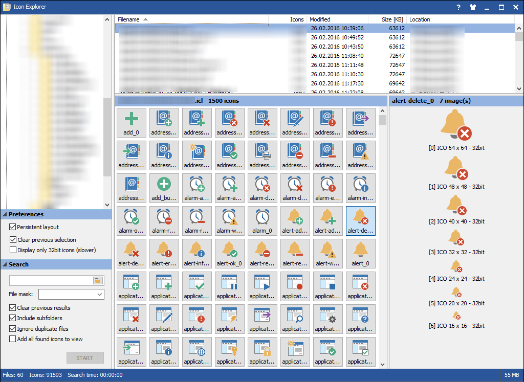 MiTeC Icon Explorer v5.1.0 Find, extract icons from files