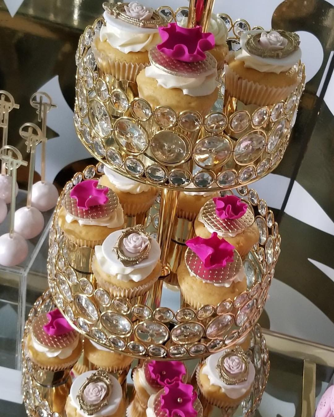 Bling 3 Tier Serving Tray With Clear Glass Accents Available In Shiny Gold Or Shiny Silver 31 H Tiers 12 10 8 Opulent Treasures Wedding Cupcakes Bling Cakes