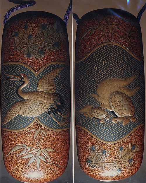 Inro with Long-Haired Turtles (obverse) and Stork with Pine Sprigs (reverse), signed Kiyoharu Seishon, 19th-20th century, Lacquer, nashiji, gold, blue, black and red hiramakie, takamakie, inlaid eye; Interior: nashiji and fundame, The Met