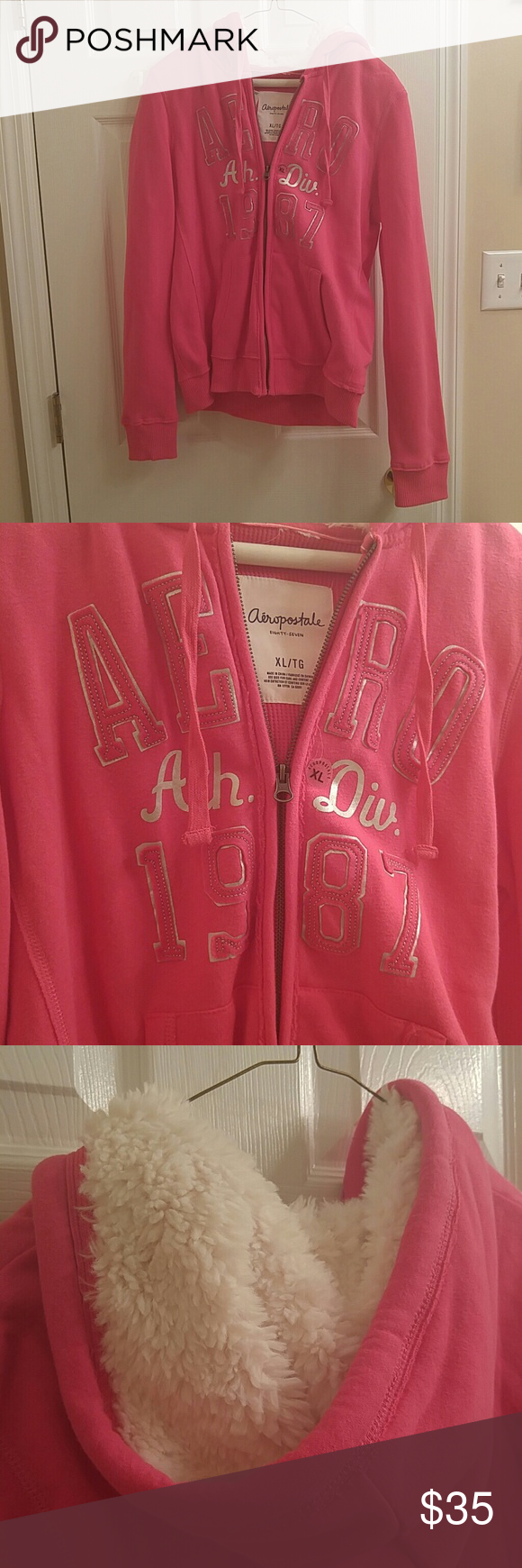 Aeropostale zip-up jacket Pink Aeropostale jacket with full front zipper and faux fur hood. There is a pocket on either side of the zipper on the front. In perfect condition; never been worn. Best for women or teens.  Open to offers! Aeropostale Jackets & Coats