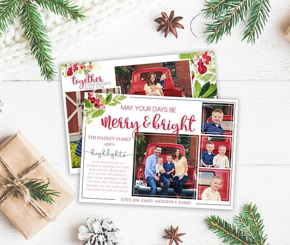 Christmas Card Template Year In Review Christmas Template Etsy Christmas Card Template Christmas Cards Card Template