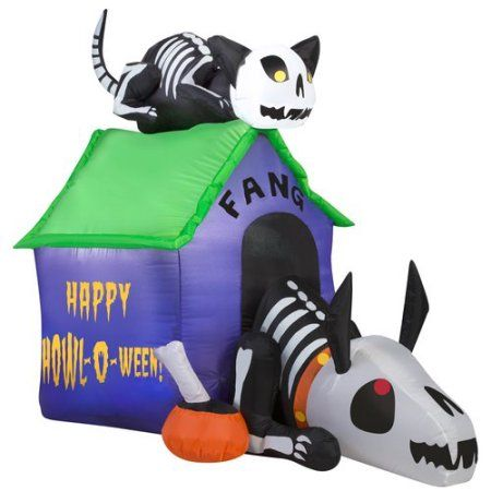 gemmy airblown inflatable 35 x 45 skeleton dog and cat halloween decoration