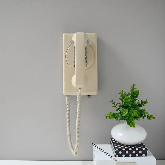 Retro wall phone in almond; working touch tone wall telephone; push button phone; push button wall phone #wallphone