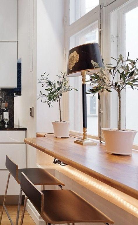 das Fensterbrett als der Tisch in der Küche interessante Lösungen ...
