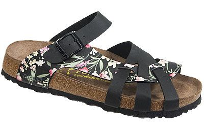 Pisa Soft Footbed Simply Flowers Black Birko-Flor The footbed of this unique style is layered with a dense foam to give you cushioned comfort all day. It is wonderful for sensitive feet. The curved strap and woven design hug your feet and the footbed supports your arches. Resoleable. #birkenstock #birkenstockexpress.com  $99